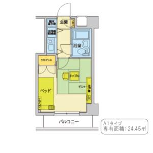 A1タイプ(間取り)24.45㎡